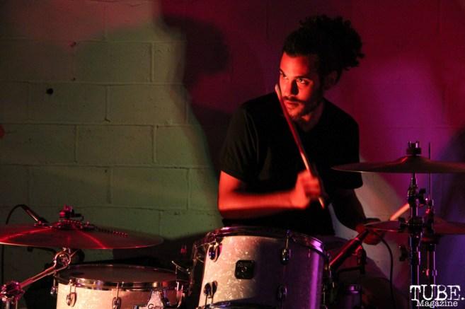 Drummer Omar Gonzalez of Sunmonks, Red Museum, Sacramento, CA. July 17, 2016. Photo Anouk Nexus