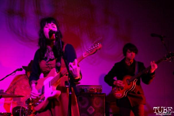 Natalie Ribbons vocalist/guitarist and Jason Chronis bassist of Tele Novella, Red Museum, Sacramento, CA. December 07, 2016. Photo Anouk Nexus