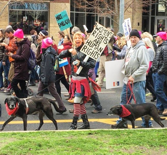 Allyson Seconds, Lu ad Hank, Woman's March Sacramento, January 21, 2017. Photo Paige Lettington.