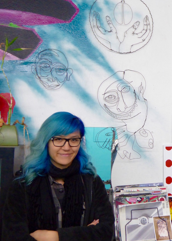 Dich with her wire drawings Photo: Justina Martino