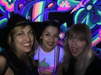 Joey Miller (left), Kate Gonzales, and Melissa Uroff at TUBE.'s dance party and coloring book issue release, DOPE. The Press Club, Sacramento CA. April 2017. Photo Joey Miller.