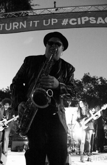 Saxophonist Tim Taylor of Joy and Madness, Concerts in the Park, Cesar Chavez Park, Sacramento, CA. July 21, 2017. Photo Anouk Nexus