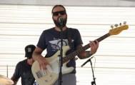 Bassist for Mondo Deco, R Street Block Party and Makers Mart, WAL Public Market, Sacramento, CA. June 24, 2017. Photo Anouk Nexus