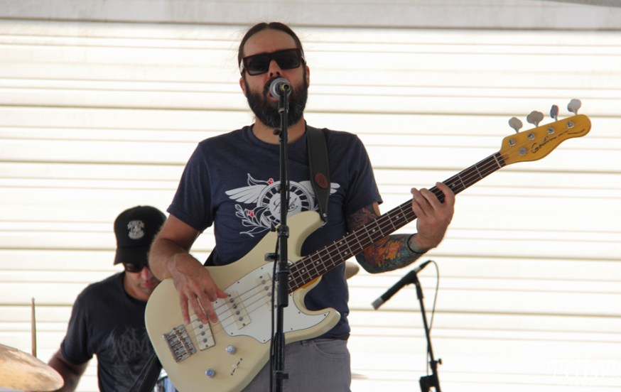 Bassist for Mondo Deco, R Street Block Party and Makers Mart, WAL Public Market, Sacramento, CA. June 24, 2017. Photo Anouk Nexus