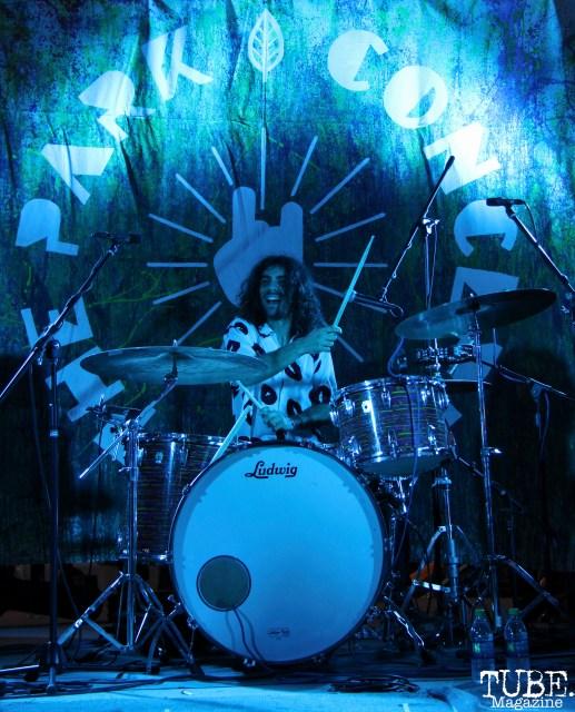 Drummer Nolan Le Vine of Vista Kicks, Concerts in the Park, Cesar Chavez Park, Sacramento, CA. June 30, 2017. Photo Anouk Nexus
