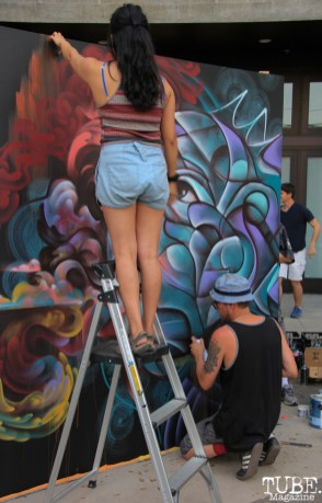Collaborative piece by artists Shaun Burner and Franceska Julianna, R Street Block Party and Makers Mart, WAL Public Market, Sacramento, CA. June 24, 2017. Photo Anouk Nexus