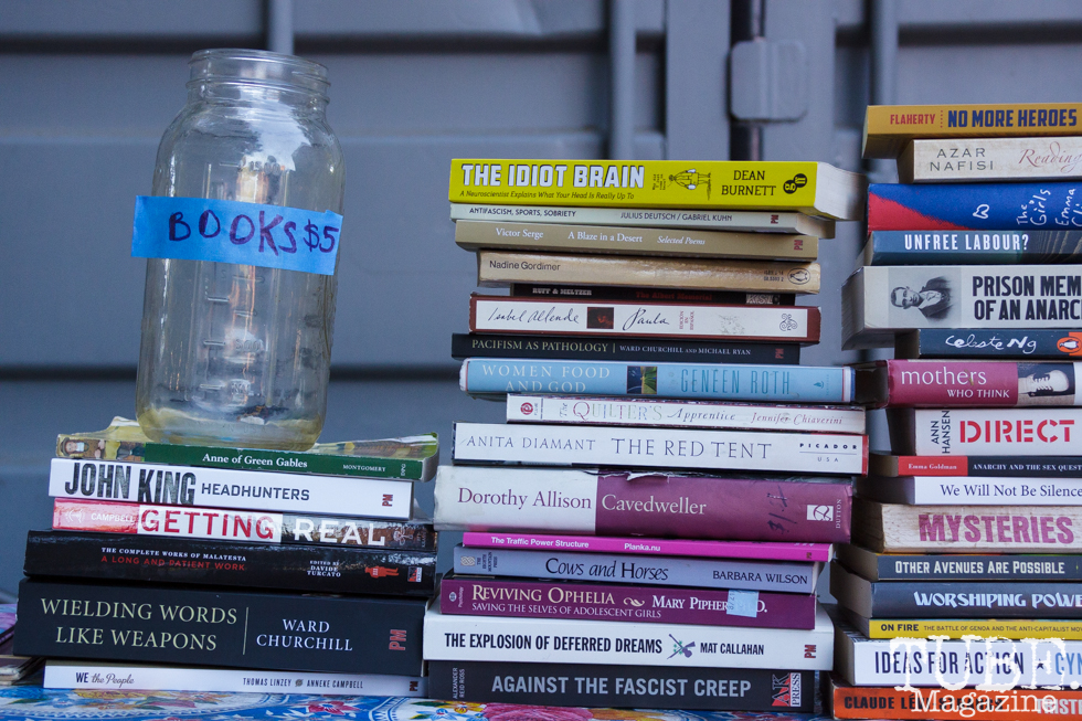 Selling used books in Sacramento CA for Ladyfest. July 21, 2017. Photo Cam Evans