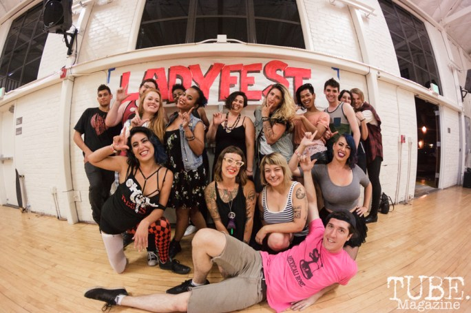The staff and volunteers in Sacramento CA for Ladyfest. July 22, 2017. Photo Cam Evans