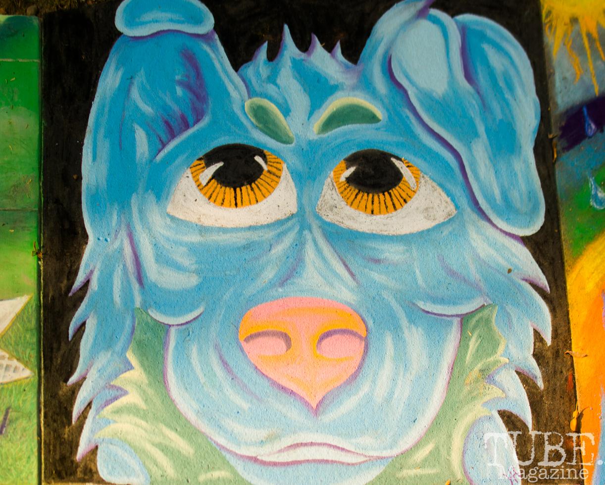 Blue Pup, Chalk It Up, Fremont Park, Sacramento, CA, September 4, 2017 Photo Dan Tyree