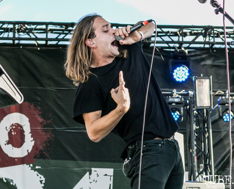 Lead Vocalist Hayden Coplen of Sir Sly, City of Trees, Papa Murphy's Park, Sacramento, CA. September 24th, 2017. Photo Mickey Morrow