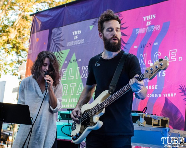 Vocalist Lindsey Pavao and Bassist Ryan Tillema of Trophii, THIS is Midtown, 20th street, Sacramento, CA. September 9, 2017. Photo Mickey Morrow