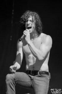 Vocalist Jonny Hawkins of Nothing More, Aftershock, Discovery Park, Sacramento, CA. October 21, 2017. Photo Anouk Nexus