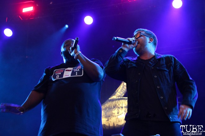 Killer Mike and El-P of Run The Jewels, Aftershock, Discovery Park, Sacramento, CA. October 21, 2017. Photo Anouk Nexus