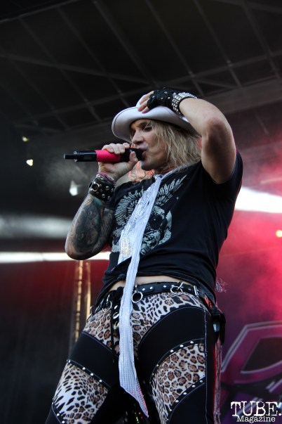 Vocalist Michael Starr of Steel Panther, Aftershock, Discovery Park, Sacramento, CA. October 22, 2017. Photo Anouk Nexus