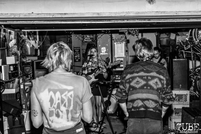 Audience watching Sundae Crush Performing at Someone's House, Sacramento, CA. October 10, 2017. Photo Mickey Morrow