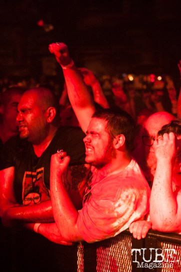 Fans in the front row for GWAR at Ace Of Spades in Sacramento, CA (11-19-2017). Photo Cam Evans