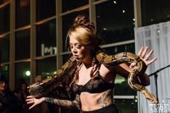 Snake Charmer Jessica Will, ArtMix Bohemia, Crocker Art Museum, Sacramento, CA. December 14th, 2017. Photo Mickey Morrow