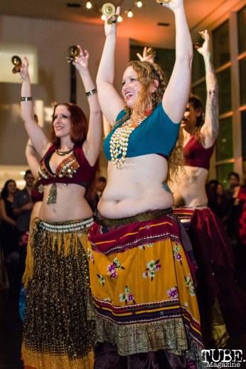 Unmata's tribal belly dancers, ArtMix Bohemia, Crocker Art Museum, Sacramento, CA. December 14th, 2017. Photo Mickey Morrow