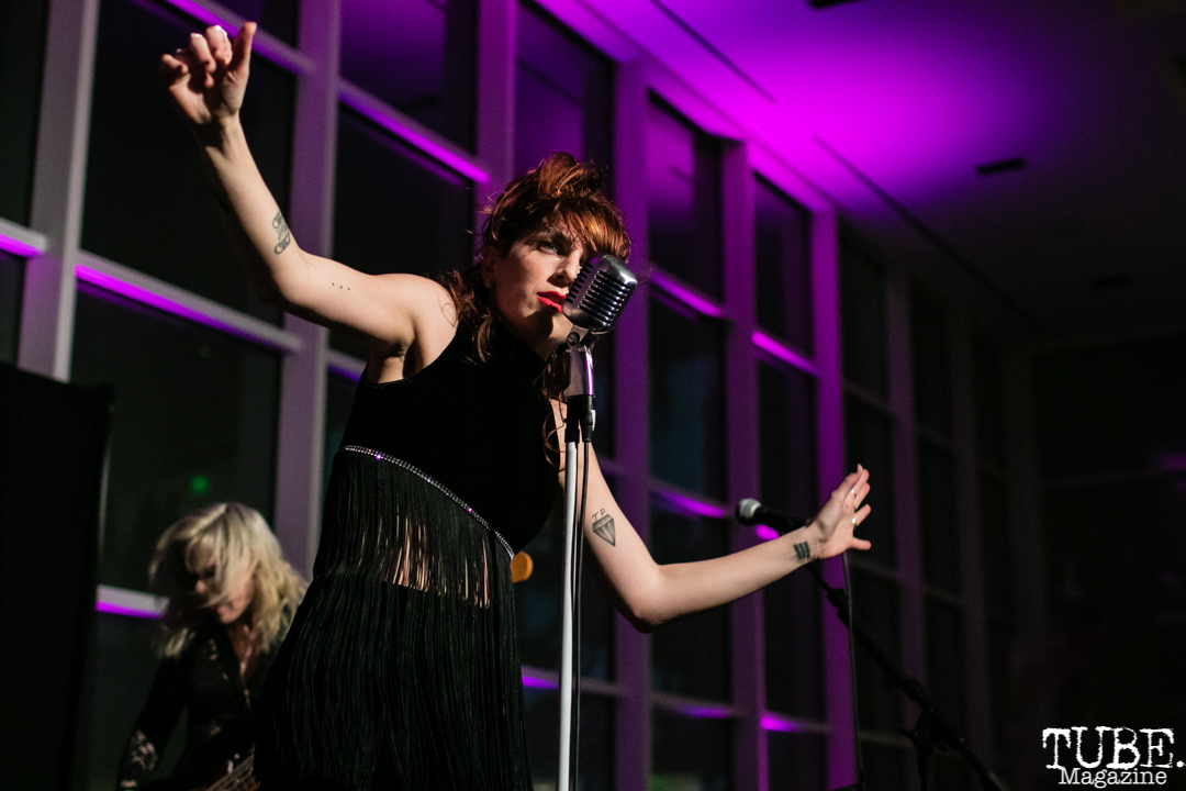 Vocalist Molly Sides of Thunderpussy, ArtMix Fierce, Crocker Art Museum, Sacramento, CA. March 8th, 2018. Photo Mickey Morrow