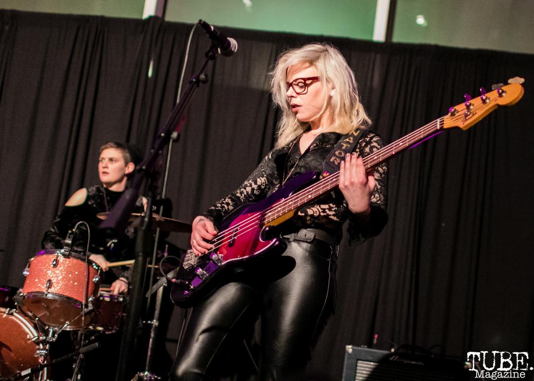Bassist Leah Julius of Thunderpussy, ArtMix Fierce, Crocker Art Museum, Sacramento, CA. March 8th, 2018. Photo Mickey Morrow