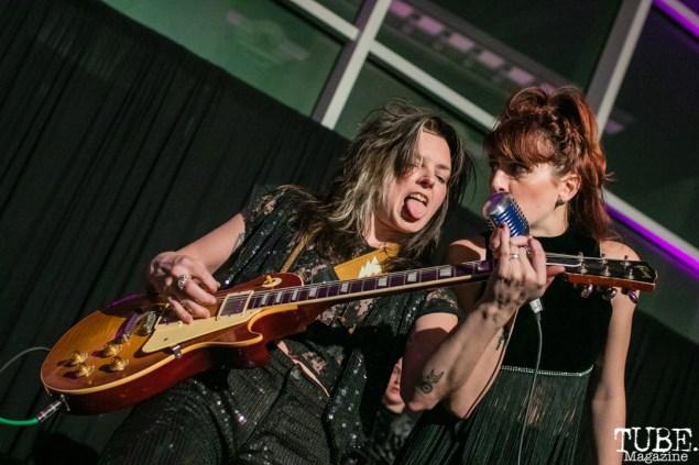 Guitarist Whitney Petty and Vocalist Molly Sides of Thunderpussy, ArtMix Fierce, Crocker Art Museum, Sacramento, CA. March 8th, 2018. Photo Mickey Morrow