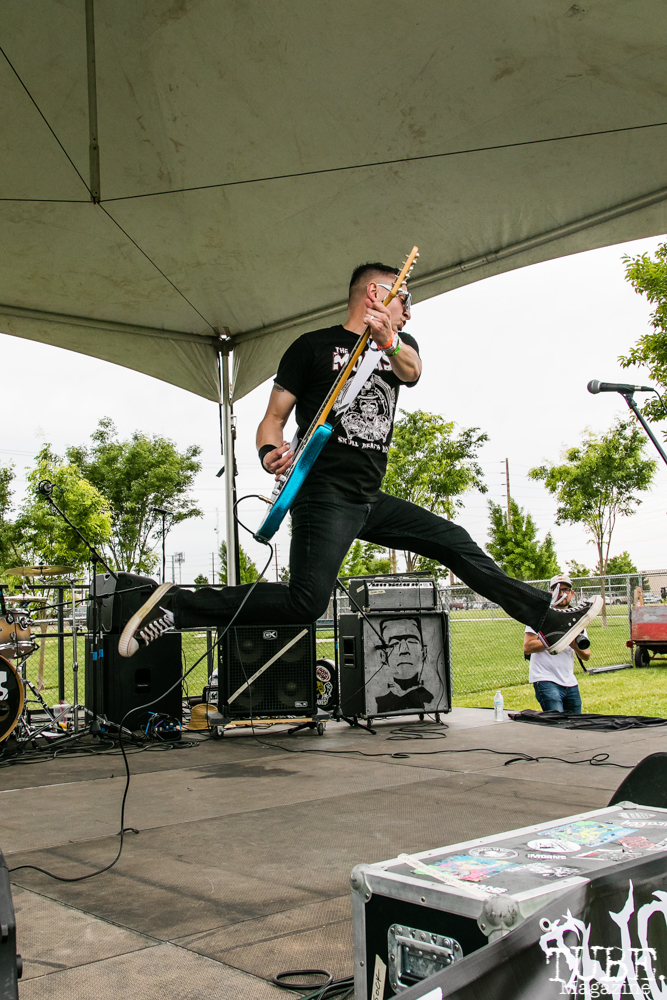 Danny Secretion guitarist/vocalist of The Moans, First Festival, Tanzanite Park, Sacramento, CA, May 5th, 2018, Photo by Mickey Morrow