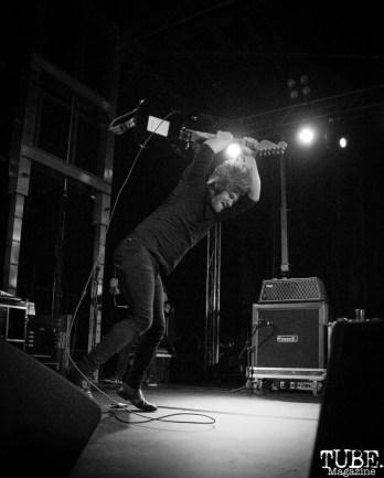 Michael Franzino guitarist of A Lot Like Birds smashing his guitar, First Festival, Tanzanite Park, Sacramento, CA, May 6th, 2018, Photo by Anouk Nexus