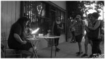 Onlookers for a glass blowing demonstration in Sacramento CA. May 4th, 2018. Photo Benz Doctolero