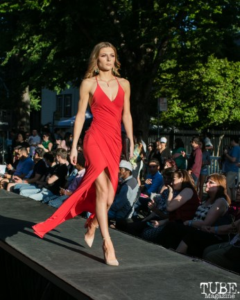 Emma Bonney wearing clothes from LadyBuggz Boutique, Dress Up-Wine Down, Capitol Avenue, Sacramento, CA. May 12th, 2018. Photo Mickey Morrow