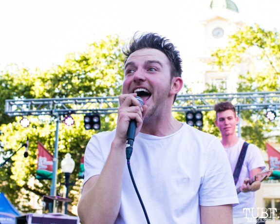 David James vocalist of Fate Under Fire, Concerts in the Park, Cesar Chavez Park, Sacramento, CA. May 11, 2018. Photo Mickey Morrow