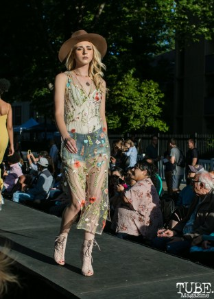 Alex Reinhorn wearing clothes from Heart Boutique, Dress Up-Wine Down, Capitol Avenue, Sacramento, CA. May 12th, 2018. Photo Mickey Morrow