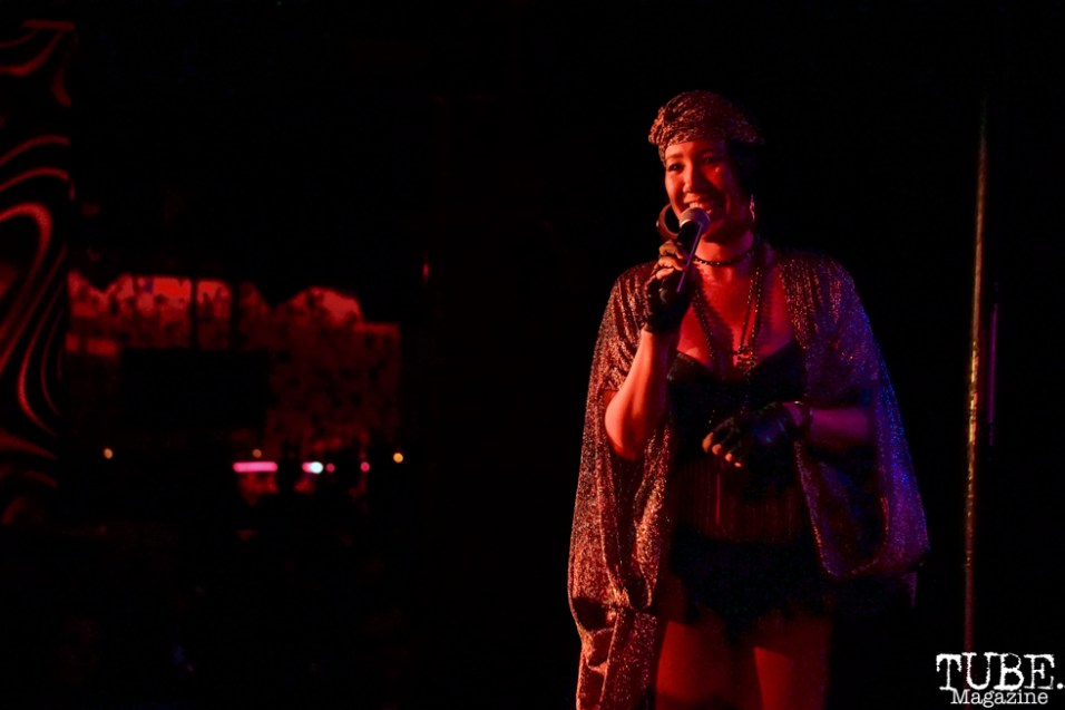 MC Lucinda Button gets the crowed ready at The Grrrly Show Harlow's Night Club September 13th, 2018, Photo by Joey Miller