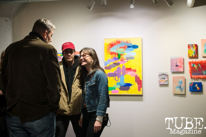 Opening reception of Andy Cunningham's show 'Aporetic' at Wal Public Gallery. Sacramento CA. February 2019. Photo Melissa Uroff
