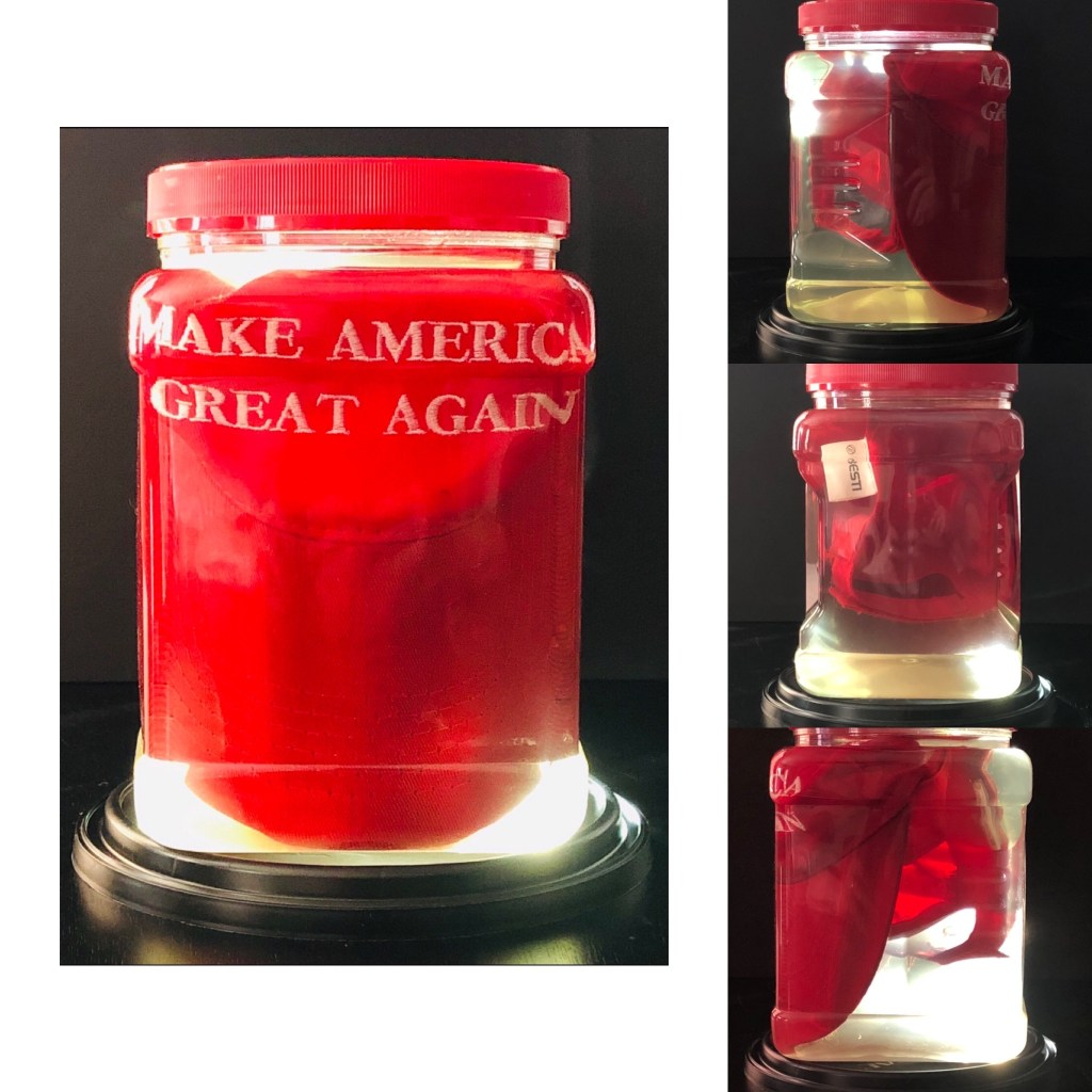 MAGA hat submerged in a jar of urine, photographed from multiple angles.