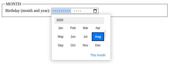 html 5 input month data type