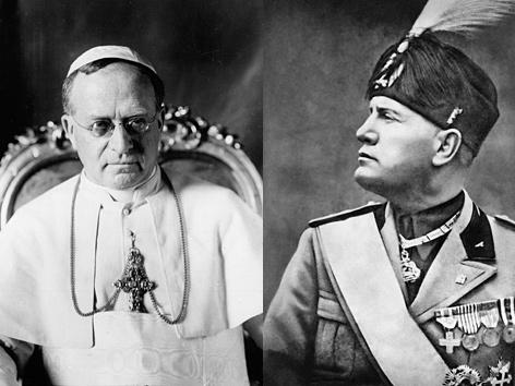 Pius XI. und Mussolini: ein schwieriges Verhältnis für beide. AP; AFP/picturedesk.com (Montage)