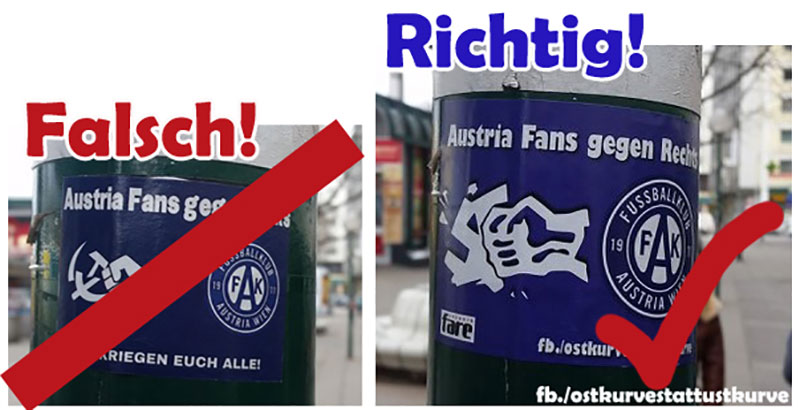 Austria Fans gegen Links Schwedenplatz
