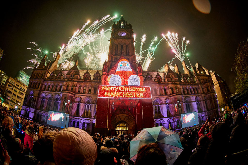 manchester christmas lights switch on 2017