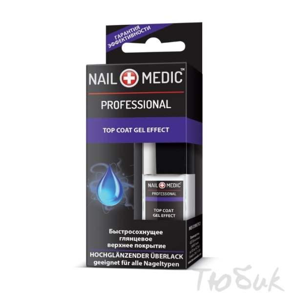Быстросохнущее глянцевое верхнее покрытие Nail Medic