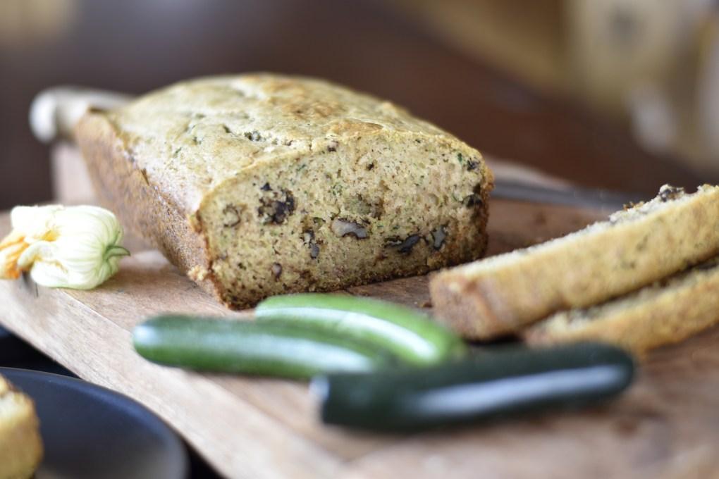 close up of zucchini bread