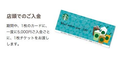 スターバックスカード5000円チャージで1枚チケット