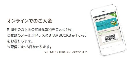 スターバックスカード5000円チャージでe-Ticketがもらえる