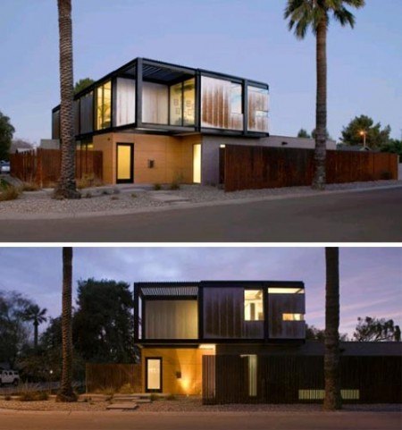 Una casa moderna de madera con dise o rectangular for Casa moderna rectangular