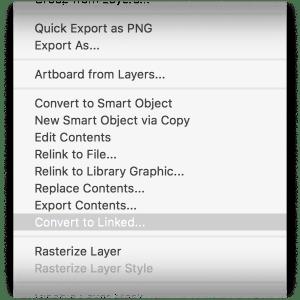 Convert to Linked Smart Object Menu Screenshot