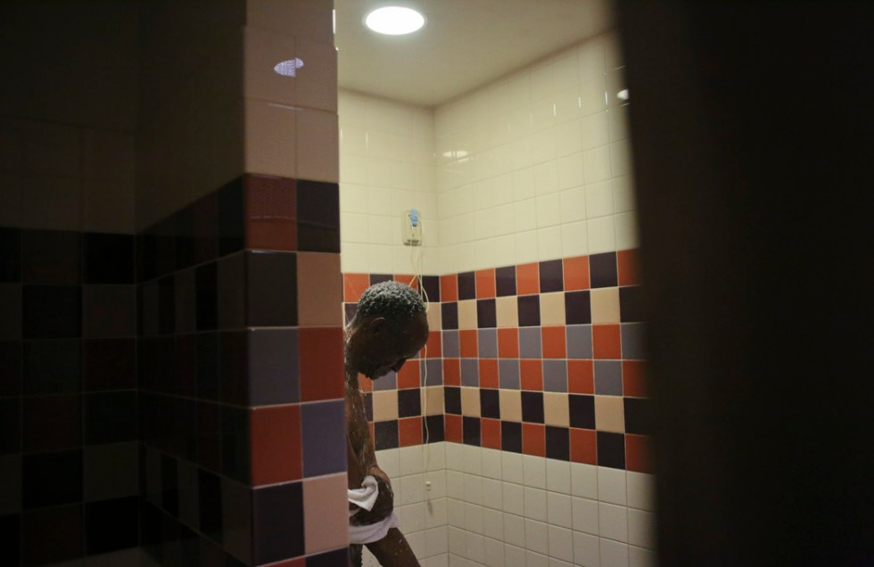 Louis Hutcherson, 69-year-old, a Vietnam veteran who is now homeless, showers at Southern Arizona VA healthcare System on May 26, 2015, Tucson, Arizona. Hutcherson became homeless after facing an eviction, awaits housing through HUD as part of the Veterans Affairs Supportive Housing.