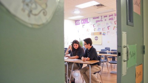 Seventh graders studied in math class on the last day of school at Imago Dei. All of the school's students who have gone on to high school have graduated or passed a G.E.D. test.