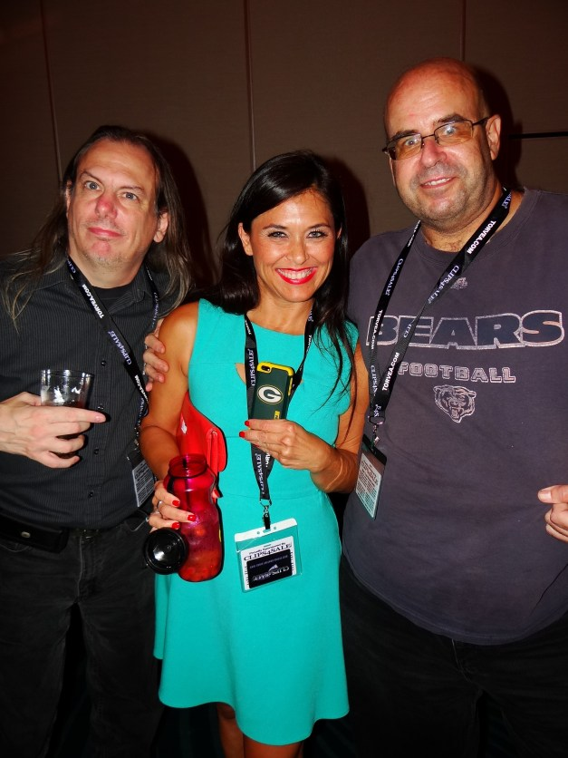 """Green Bay Packers (ugh) fan Tomiko with me and LooseCannon666 (producer).  I'm trying here to get her to see the light and go """"Bears""""...I bet it doesn't happen.  :P"""