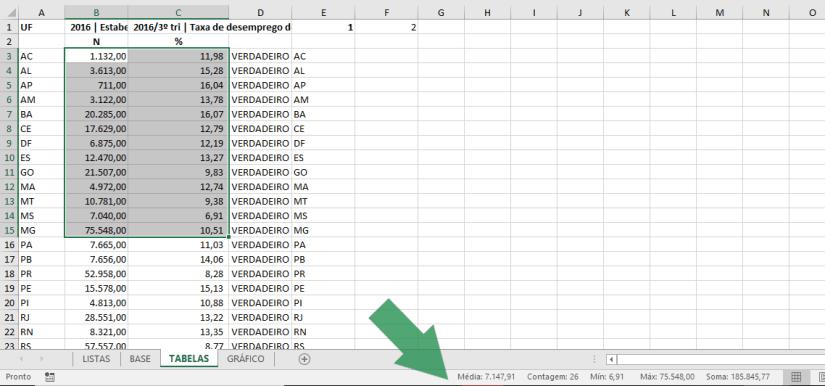 barra de status Excel