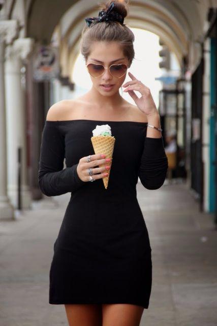 vestido ombro a ombro preto basico