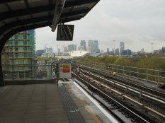 View of Canary Wharf from Poonton Dock DLR